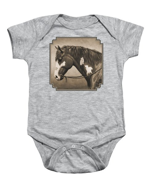 War Horse Aged Photo Fx Baby Onesie