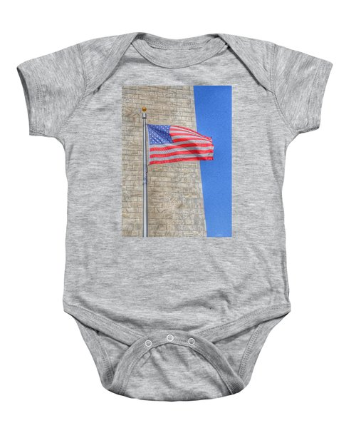 Washington Monument With The American Flag Baby Onesie