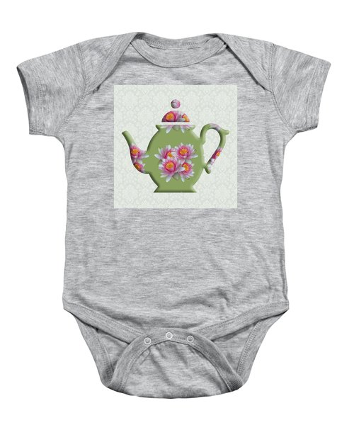 Water Lily Pattern Teapot Baby Onesie