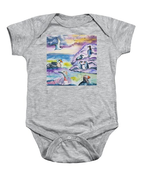 Watercolor - Alaska Seabird Gathering Baby Onesie