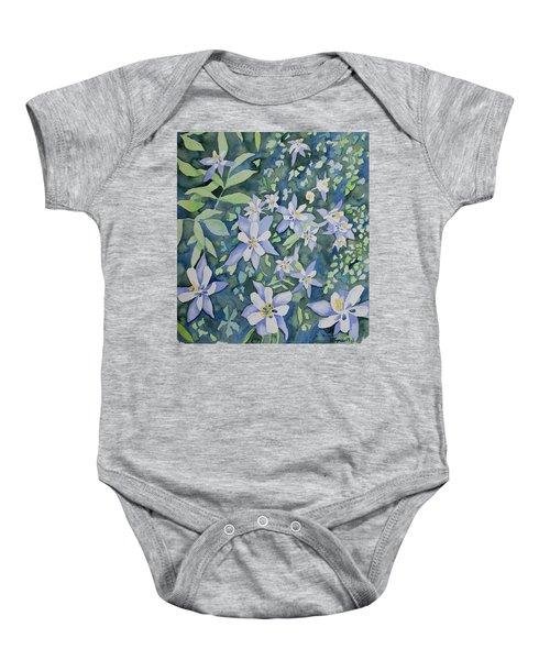 Watercolor - Blue Columbine Wildflowers Baby Onesie