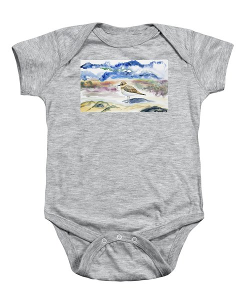 Watercolor - Double-banded Plover On The Beach Baby Onesie