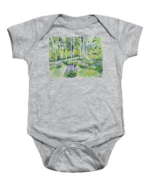 Watercolor - Early Summer Aspen And Lupine Baby Onesie