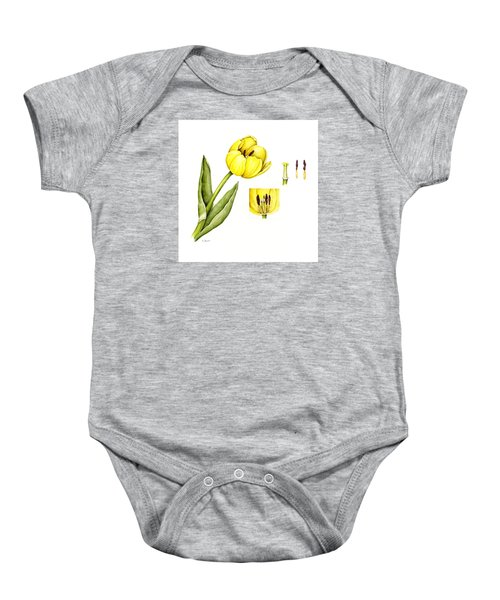 Watercolor Flower Yellow Tulip Baby Onesie