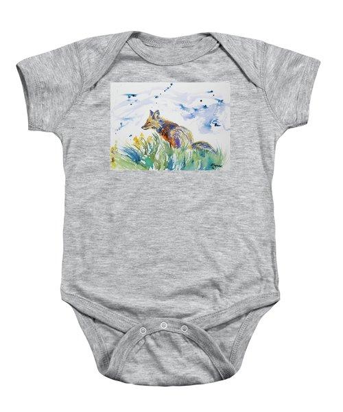 Watercolor - Fox On The Lookout Baby Onesie