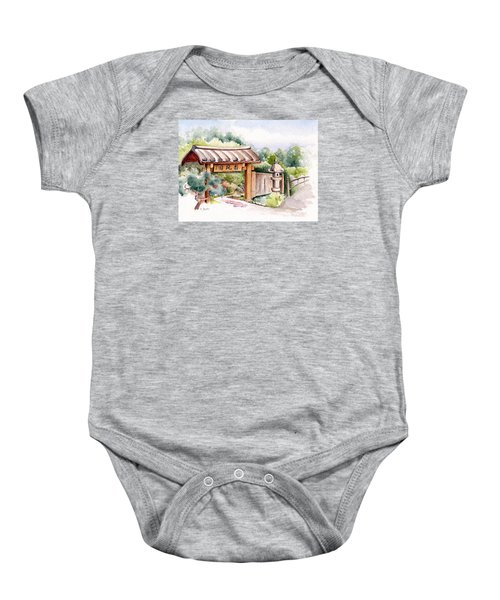 Watercolor Japanese Garden Gate Baby Onesie