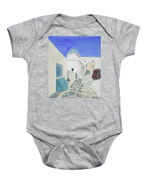 Watercolor - Paros Church And Street Scene Baby Onesie