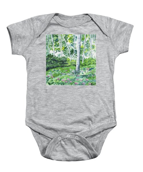 Watercolor - Spring Forest And Flowers Baby Onesie