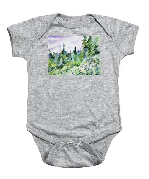 Watercolor - Summer In The Rockies Baby Onesie