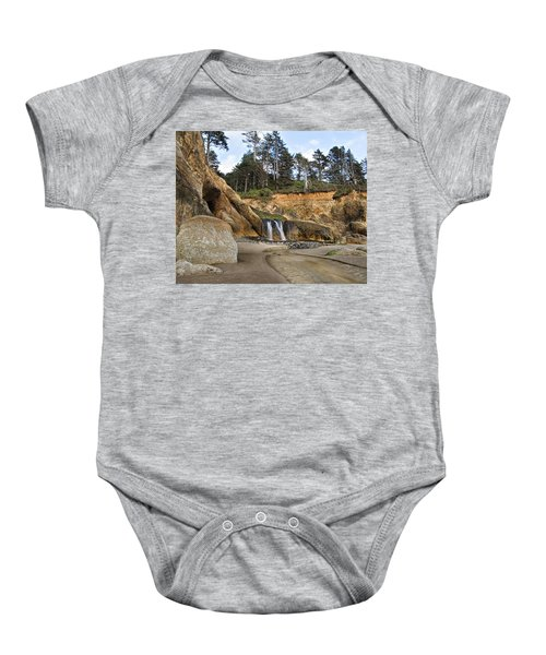 Waterfall At Hug Point State Park Oregon Baby Onesie