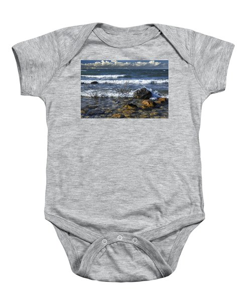 Waves Crashing Ashore At Northport Point On Lake Michigan Baby Onesie