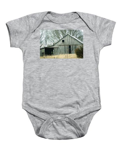 Weathered Barn In Winter Baby Onesie