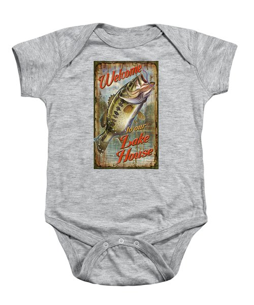 Welcome Lake House Sign Baby Onesie