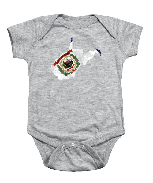 West Virginia Map Art With Flag Design Baby Onesie by World Art Prints And Designs