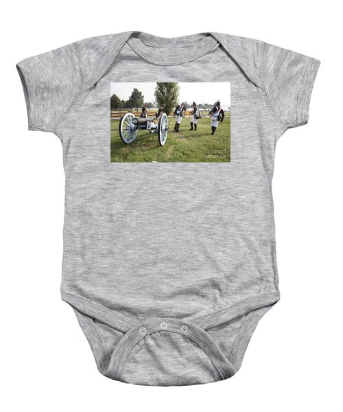 Wheeling The Cannon At Fort Mchenry In Baltimore Maryland Baby Onesie