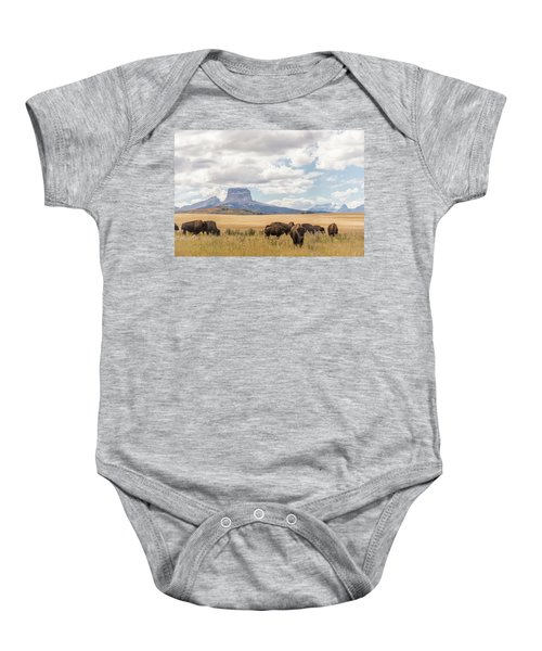 Where The Buffalo Roam Baby Onesie by Alex Lapidus
