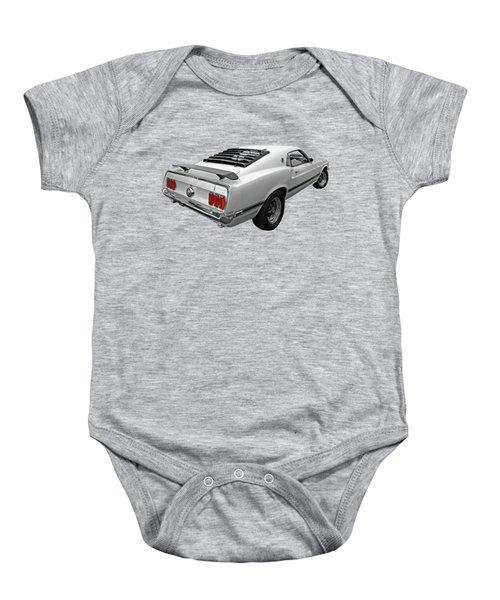 White '69 Mach 1 In Black And White Baby Onesie