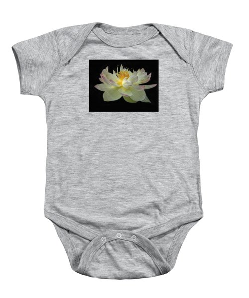 White And Pink Floral Baby Onesie