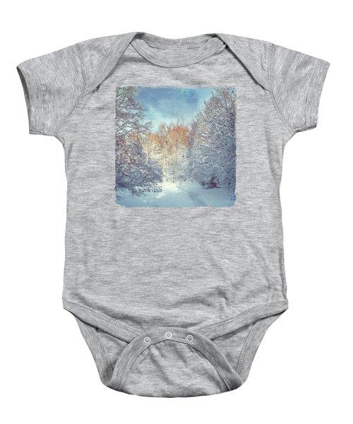 White Blanket - Winter Landscape Baby Onesie