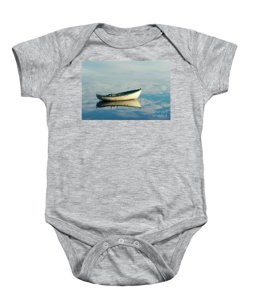 White Boat Reflected Baby Onesie