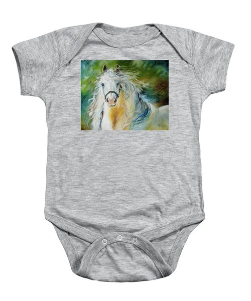 White Cloud The Andalusian Stallion Baby Onesie