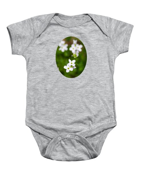 White Cuckoo Flowers Baby Onesie by Christina Rollo