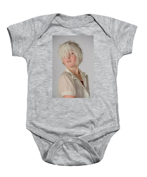 White Feather Wig Girl Baby Onesie