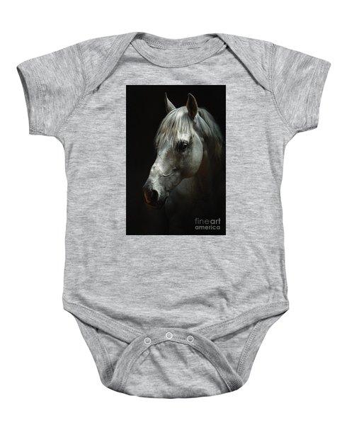 White Horse Portrait Baby Onesie