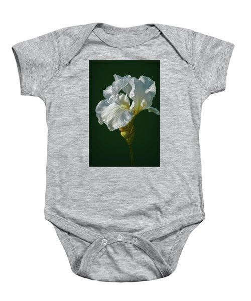 White Iris On Dark Green #g0 Baby Onesie