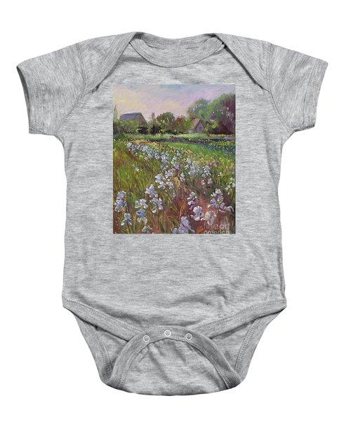 White Irises And Farmstead Baby Onesie