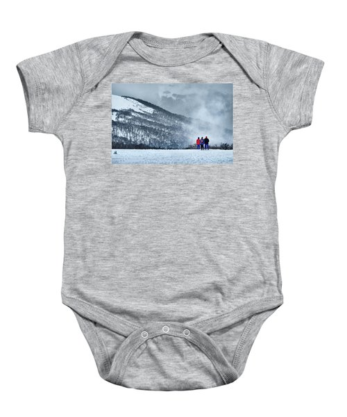 White Landscape In The Frozen Paradise In The Argentine Patagonia Baby Onesie