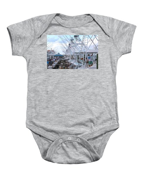 White Marlin Open Docks Baby Onesie
