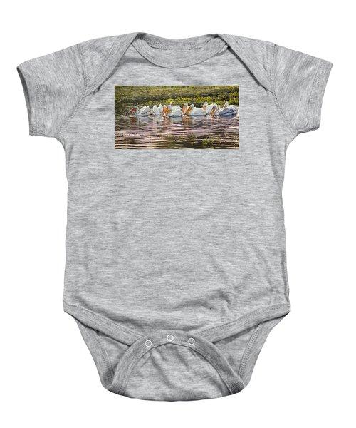 White Pelican Parade Baby Onesie