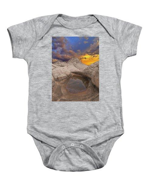 White Pocket Sunset Baby Onesie