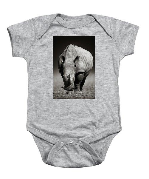 White Rhinoceros  In Due-tone Baby Onesie