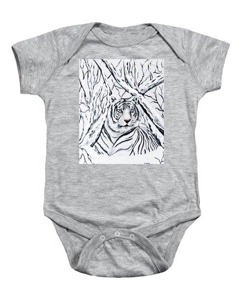 White Tiger Blending In Baby Onesie by Teresa Wing