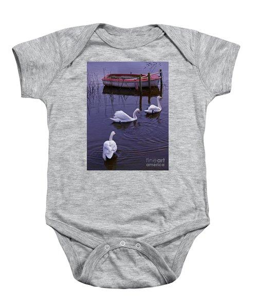 Whooper Swans On River Baby Onesie