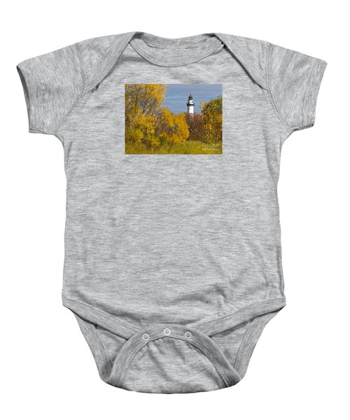 Wind Point Lighthouse In Fall Baby Onesie by Ricky L Jones