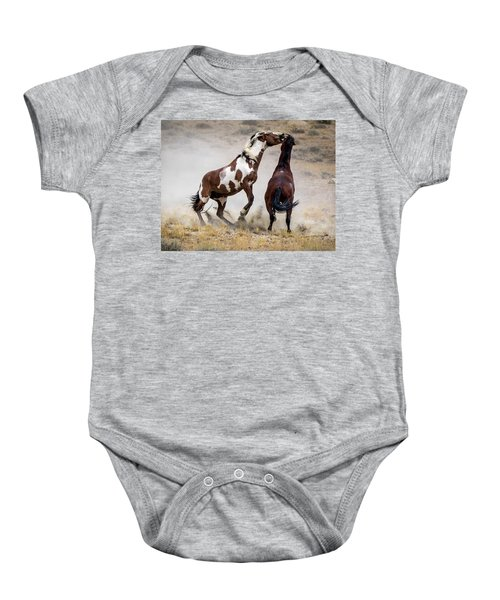 Wild Stallion Battle - Picasso And Dragon Baby Onesie