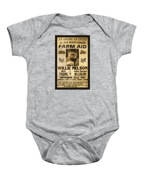 Willie Nelson Neil Young 1985 Farm Aid Poster Baby Onesie by John Stephens