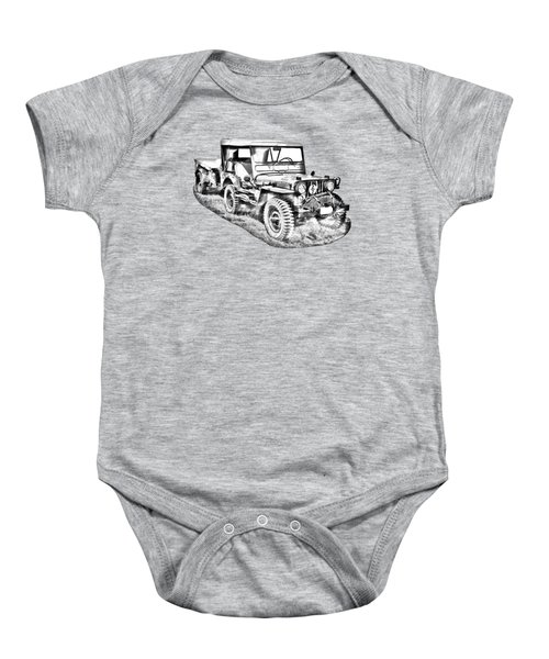 Willys World War Two Army Jeep Illustration Baby Onesie
