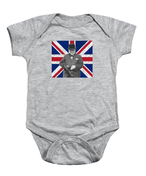 Winston Churchill And His Flag Baby Onesie