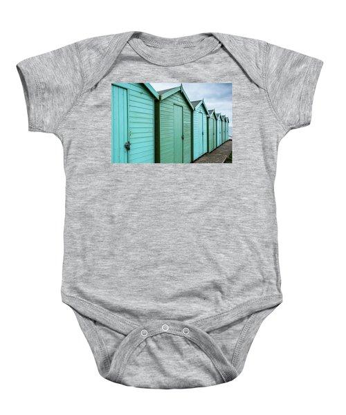 Winter Beach Huts IIi Baby Onesie