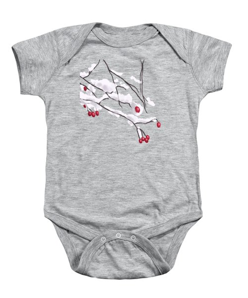 Winter Berries And Branches Covered In Snow Baby Onesie