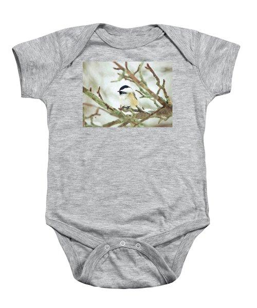 Winter Chickadee Baby Onesie