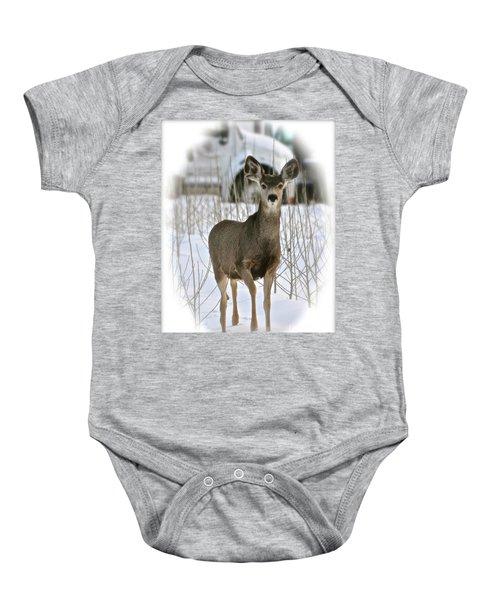 Winter Deer On The Tree Farm Baby Onesie