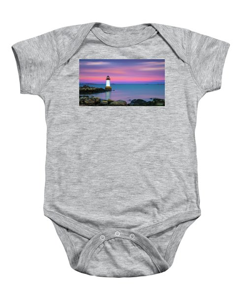 Winter Island Light 1 Baby Onesie