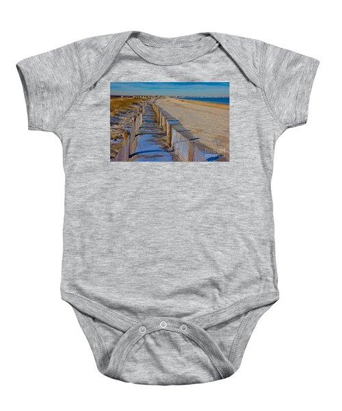 Winter On Duxbury Beach Baby Onesie