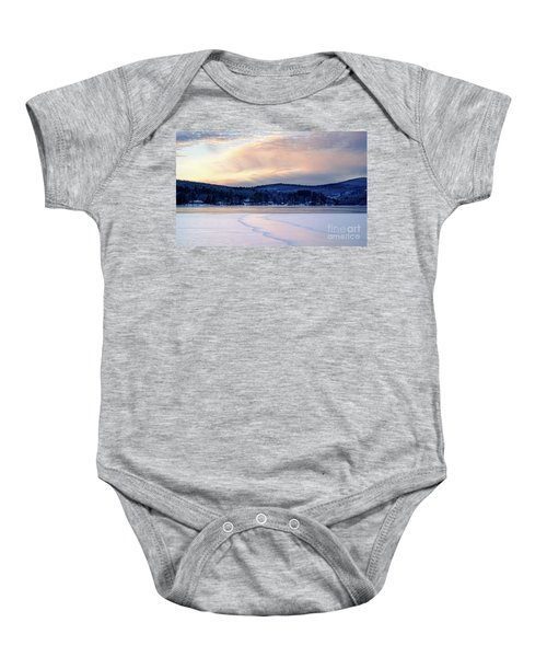 Winter Sunset On Wilson Lake In Wilton Me  -78091-78092 Baby Onesie