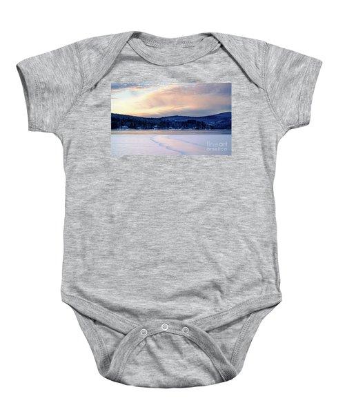 Winter Sunset On Wilson Lake In Wilton Me  -78091-78092 Baby Onesie